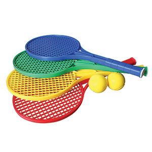 PLASTIC TENNIS RACKET AND BALLS SET