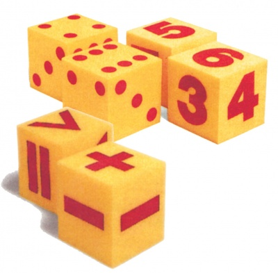 GIANT SOFT DICE, MATHEMATICAL OPERATION, SPOT AND NUMBER DICE